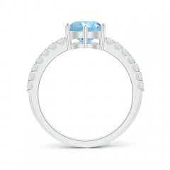 Toggle Aquamarine Solitaire Ring with Diamond Accents