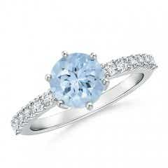 Natural Aquamarine Solitaire Ring with Diamond Accents