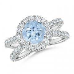 Split Shank Aquamarine Engagement Ring with Diamond Halo