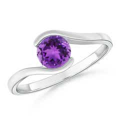 Half Bezel Solitaire Round Amethyst Bypass Ring