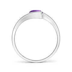 Toggle Semi Bezel-Set Solitaire Round Amethyst Bypass Ring