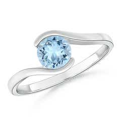 Semi Bezel-Set Solitaire Round Aquamarine Bypass Ring