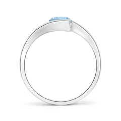 Toggle Semi Bezel-Set Solitaire Round Aquamarine Bypass Ring