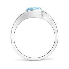 Toggle Semi Bezel-Set Solitaire Round Aquamarine Bypass Ring