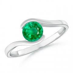 Semi Bezel-Set Solitaire Round Emerald Bypass Ring