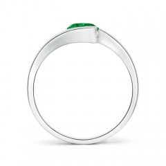 Toggle Semi Bezel-Set Solitaire Round Emerald Bypass Ring