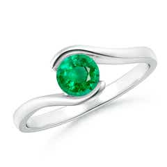 Half Bezel Solitaire Round Emerald Bypass Ring