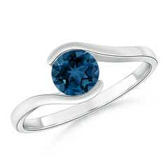 Semi Bezel-Set Solitaire Round London Blue Topaz Bypass Ring