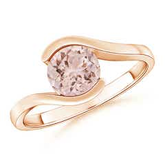 Half Bezel Solitaire Round Morganite Bypass Ring