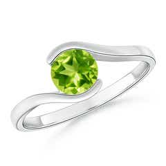 Half Bezel Solitaire Round Peridot Bypass Ring