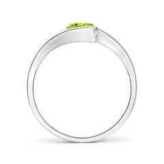 Toggle Semi Bezel-Set Solitaire Round Peridot Bypass Ring