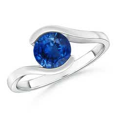 Half Bezel Solitaire Round Blue Sapphire Bypass Ring