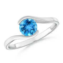 Semi Bezel-Set Solitaire Round Swiss Blue Topaz Bypass Ring