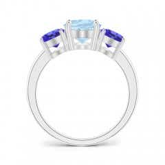 Toggle Oval Aquamarine and Tanzanite Three Stone Ring