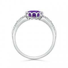 Toggle Oval Amethyst Vintage Style Ring with Diamond Accents
