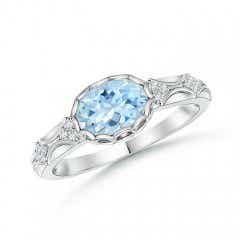 Oval Aquamarine Vintage Ring with Diamond Accents