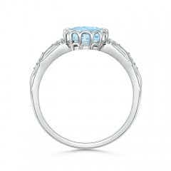 Toggle Oval Aquamarine Vintage Style Ring with Diamond Accents