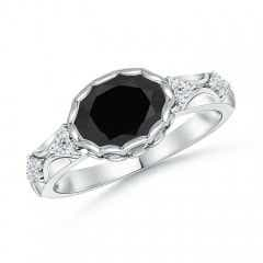 Oval Black Onyx Vintage Style Ring with Diamond Accents