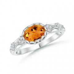 Oval Citrine Vintage Style Ring with Diamond Accents