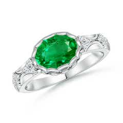 Oval Emerald Vintage Style Ring with Diamond Accents