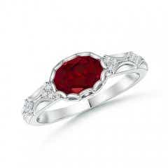 Oval Garnet Vintage Ring with Diamond Accents