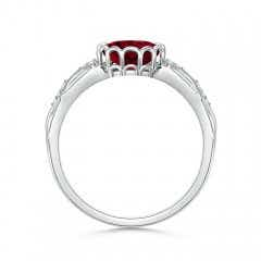 Toggle Oval Garnet Vintage Style Ring with Diamond Accents