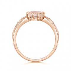 Toggle Oval Morganite Vintage Style Ring with Diamond Accents