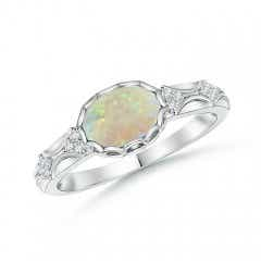 Oval Opal Vintage Ring with Diamond Accents