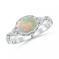 Oval Opal Vintage Style Ring with Diamond Accents