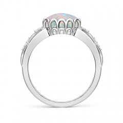 Toggle Oval Opal Vintage Style Ring with Diamond Accents