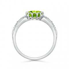 Toggle Oval Peridot Vintage Style Ring with Diamond Accents