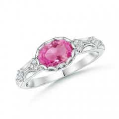 Oval Pink Sapphire Vintage Ring with Diamond Accents