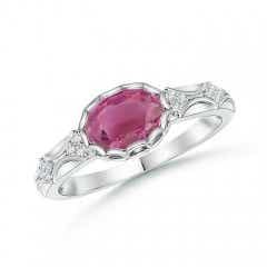 Oval Pink Tourmaline Vintage Style Ring with Diamond Accents
