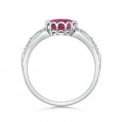 Toggle Oval Pink Tourmaline Vintage Style Ring with Diamond Accents