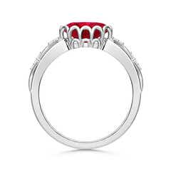 Toggle Oval Ruby Vintage Style Ring with Diamond Accents