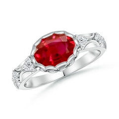 Oval Ruby Vintage Style Ring with Diamond Accents