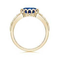 Toggle Oval Blue Sapphire Vintage Style Ring with Diamond Accents