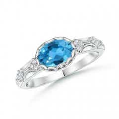 Oval Swiss Blue Topaz Vintage Style Ring with Diamond Accents