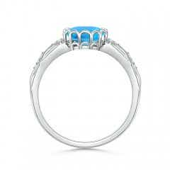 Toggle Oval Swiss Blue Topaz Vintage Style Ring with Diamond Accents