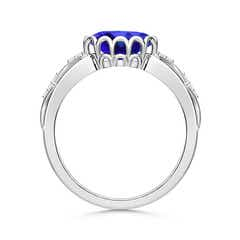 Toggle Oval Tanzanite Vintage Style Ring with Diamond Accents