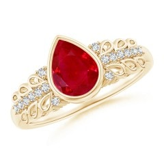 Pear Ruby Vintage Style Ring with Diamond Accents
