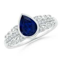 Pear Blue Sapphire Vintage Style Ring with Diamond Accents
