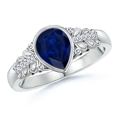 Pear Shaped Blue Sapphire Vintage Ring with Diamond Accents