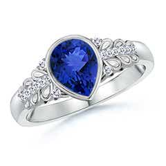 Pear Shaped Tanzanite Vintage Ring with Diamond Accents