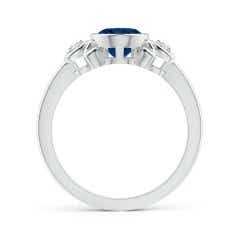 Toggle Vintage Inspired Bezel-Set Sapphire Ring with Diamonds