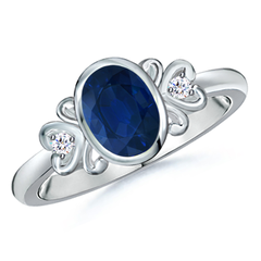 Bezel Set Vintage Sapphire Ring with Diamond Accents