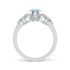 Toggle Vintage Style Oval Aquamarine Ring with Diamonds