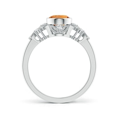 Toggle Vintage Style Oval Citrine Ring with Diamonds
