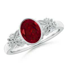 Bezel Set Vintage Oval Garnet Ring with Diamond Accents