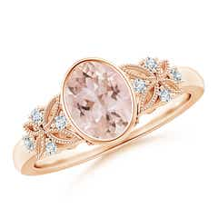 Vintage Style Oval Morganite Ring with Diamonds